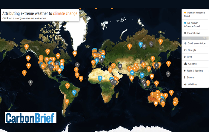 Carbon Brief's interactive map: attributing extreme weather to climate change